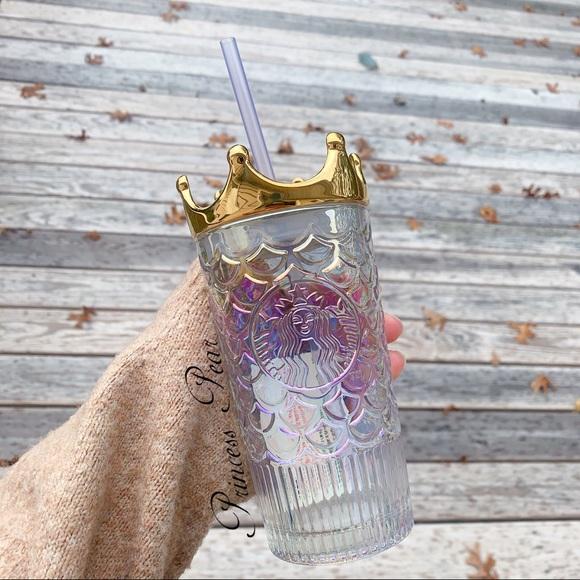 Starbucks Tumbler China Anniversary Siren Mermaid Golden crown Glass Straw Cup A